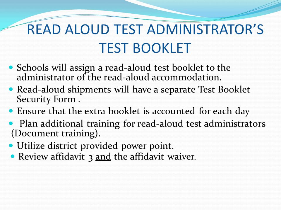 READ ALOUD TEST ADMINISTRATOR'S TEST BOOKLET