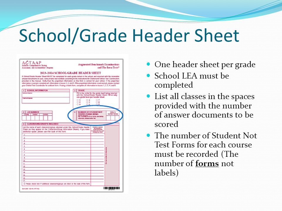 School/Grade Header Sheet