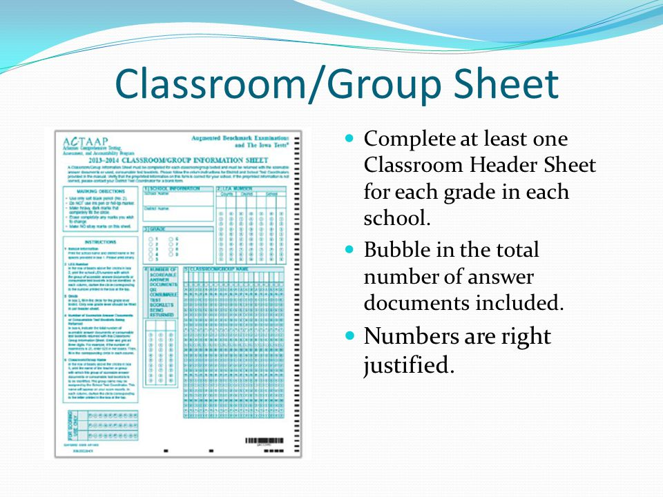 Classroom/Group Sheet