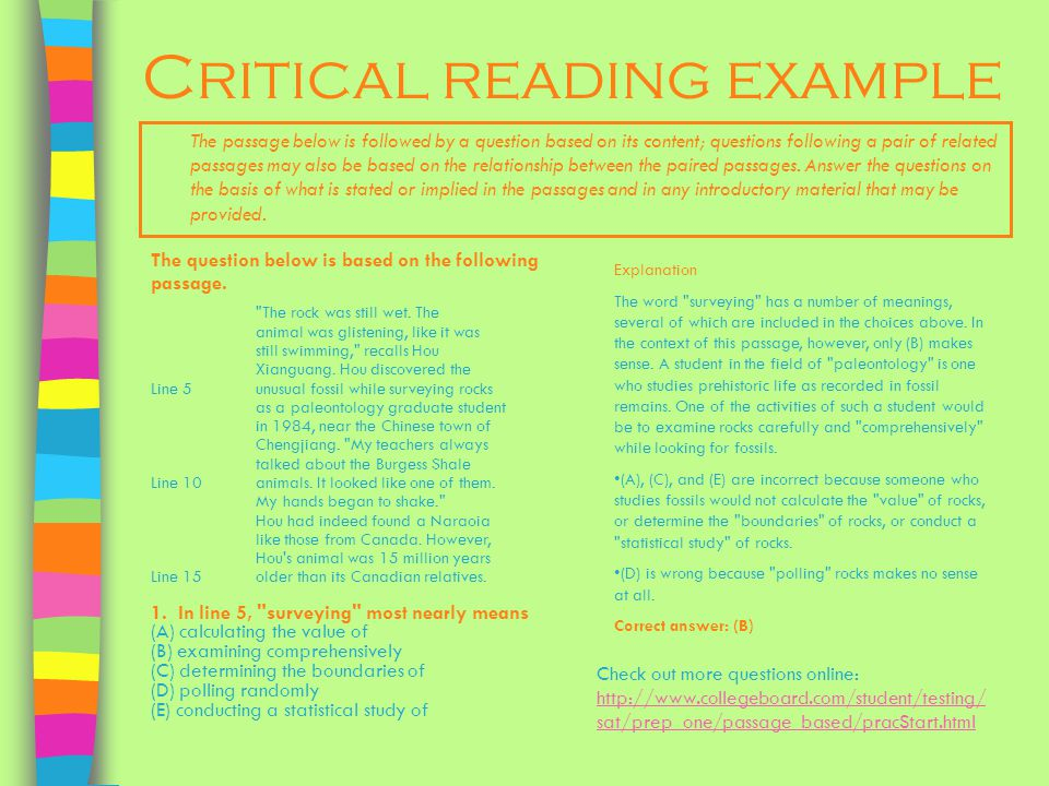 Critical reading example