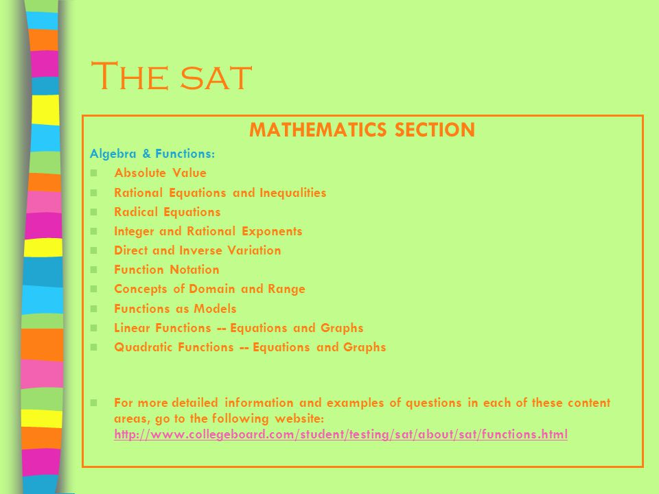 The sat MATHEMATICS SECTION Algebra & Functions: Absolute Value