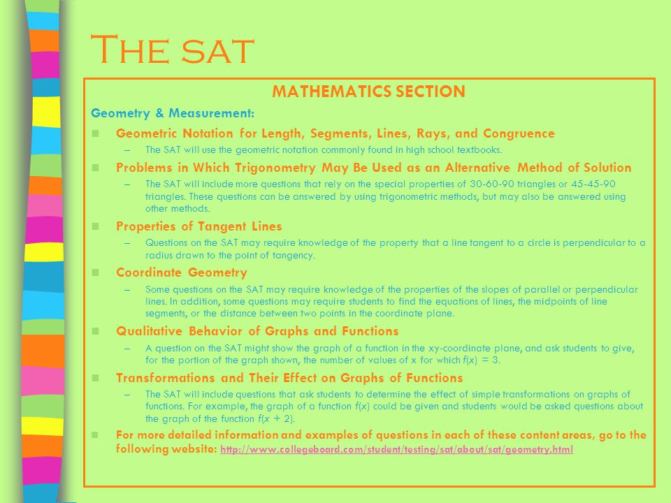 The sat MATHEMATICS SECTION Geometry & Measurement: