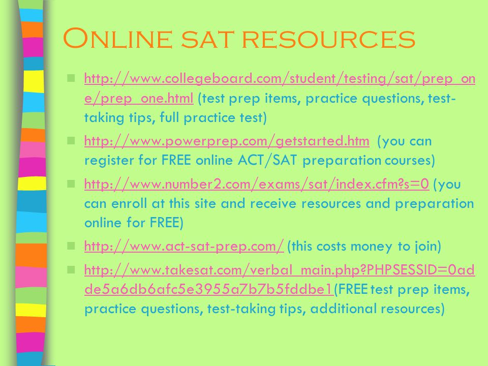 Online sat resources