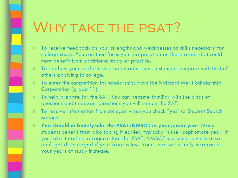 Why take the psat