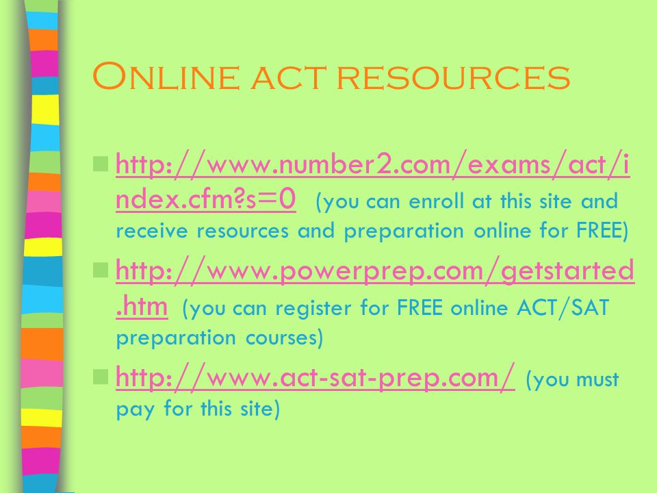 Online act resources