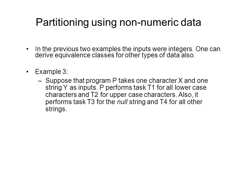 Partitioning using non-numeric data