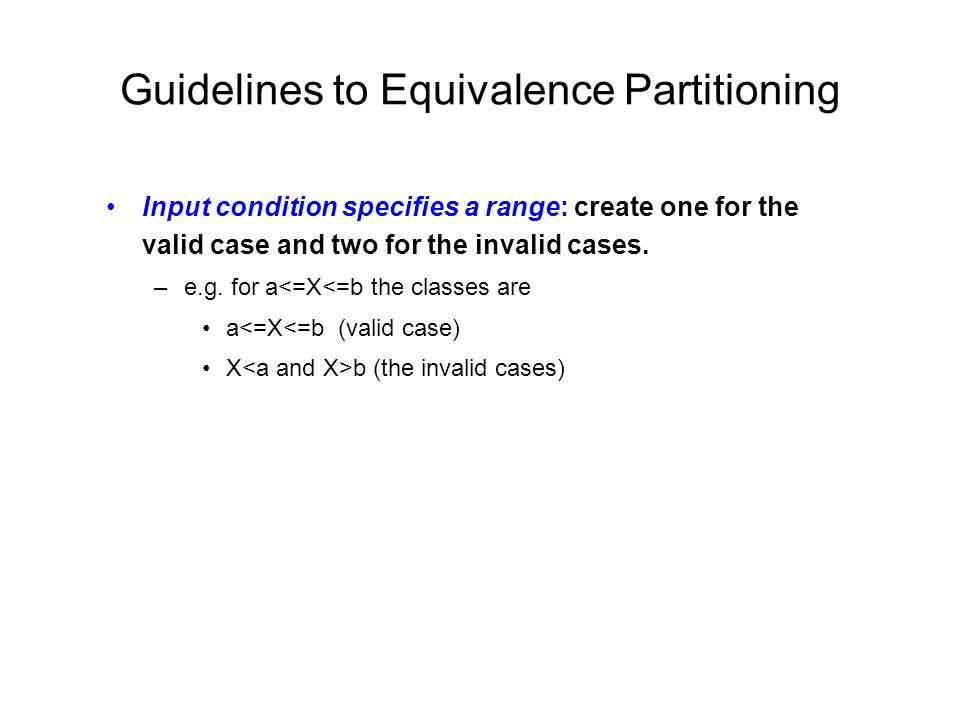 Guidelines to Equivalence Partitioning