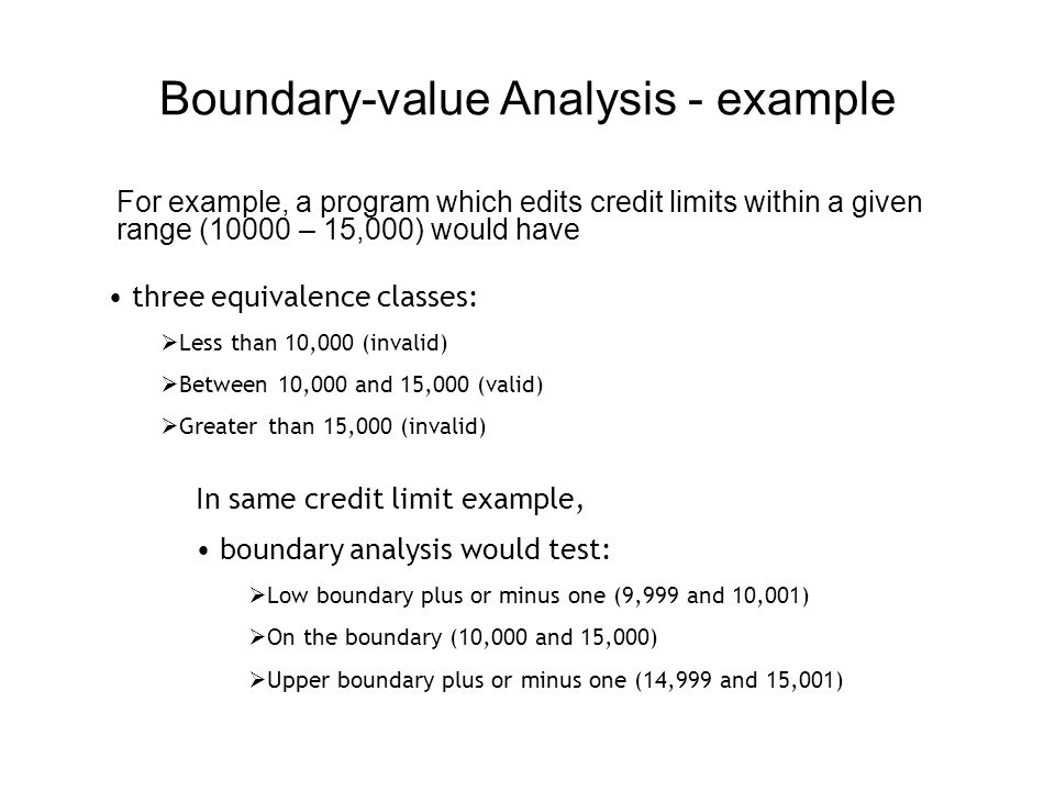Boundary-value Analysis - example