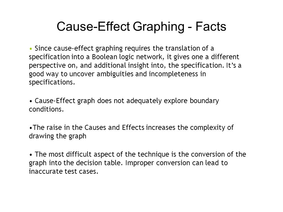 Cause-Effect Graphing - Facts