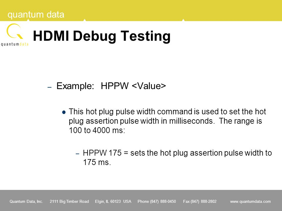 HDMI Debug Testing Example: HPPW <Value>