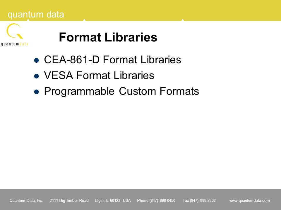 Format Libraries CEA-861-D Format Libraries VESA Format Libraries