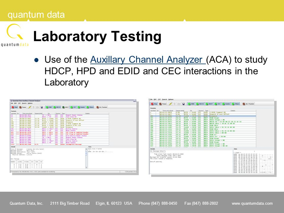 Laboratory Testing Use of the Auxillary Channel Analyzer (ACA) to study HDCP, HPD and EDID and CEC interactions in the Laboratory.