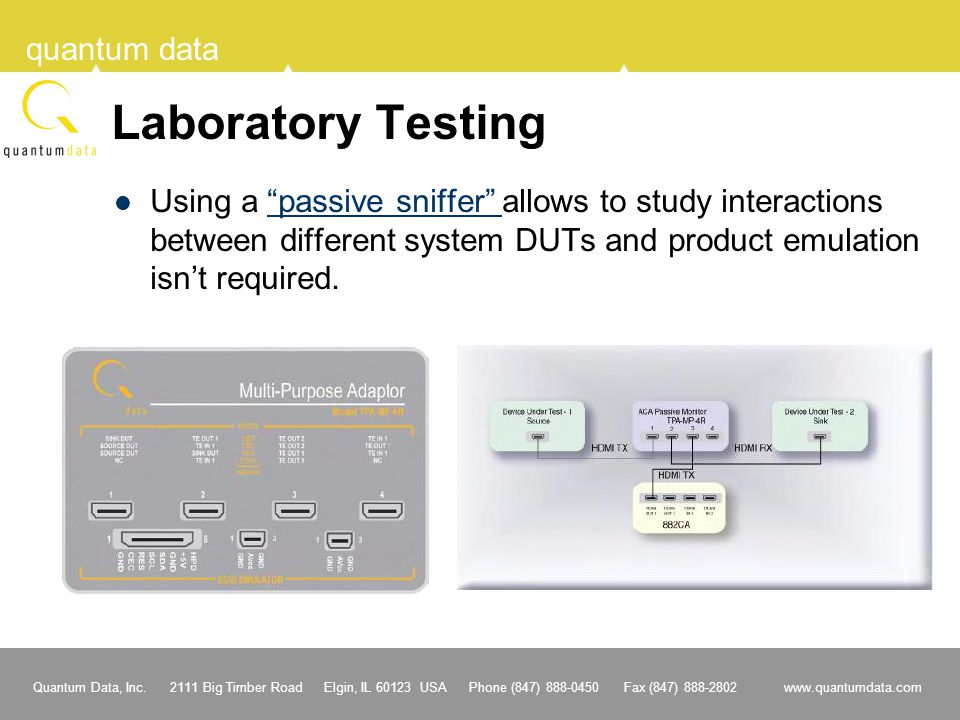 Laboratory Testing Using a passive sniffer allows to study interactions between different system DUTs and product emulation isn't required.