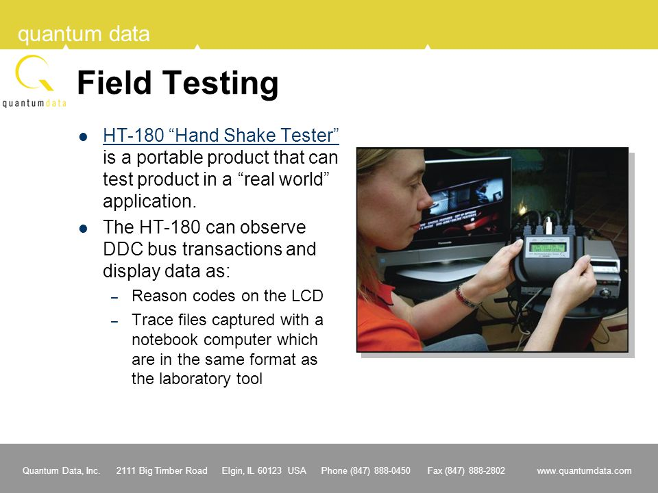 Field Testing HT-180 Hand Shake Tester is a portable product that can test product in a real world application.