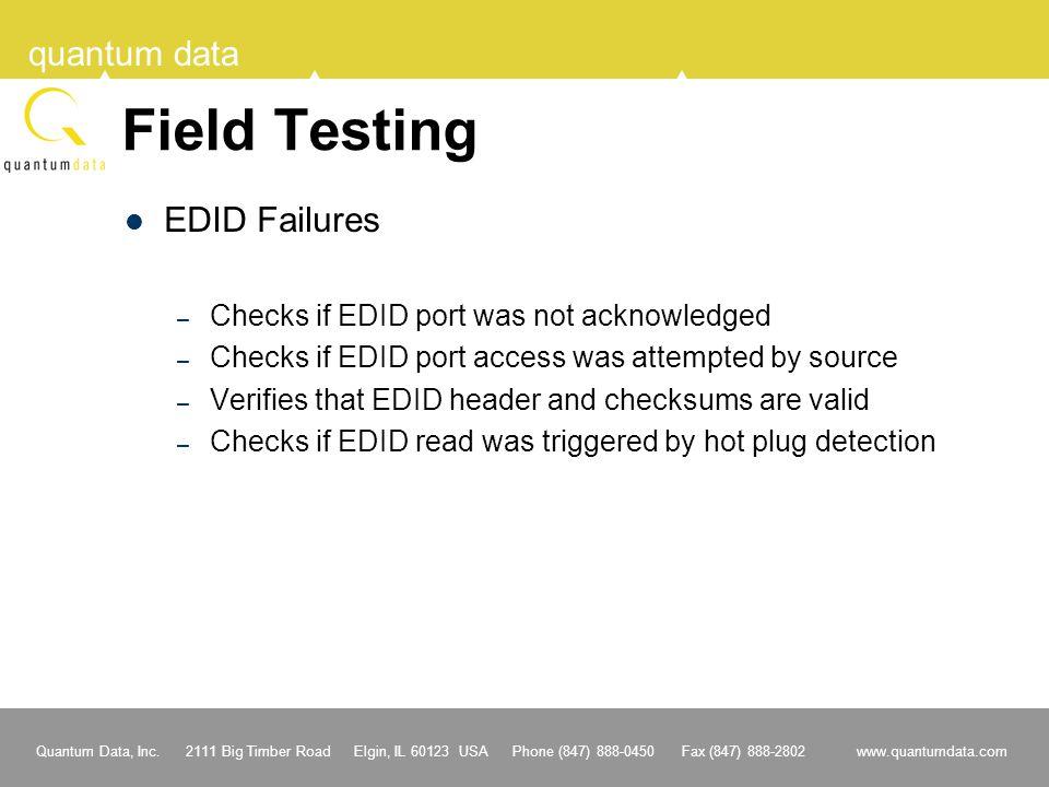Field Testing EDID Failures Checks if EDID port was not acknowledged