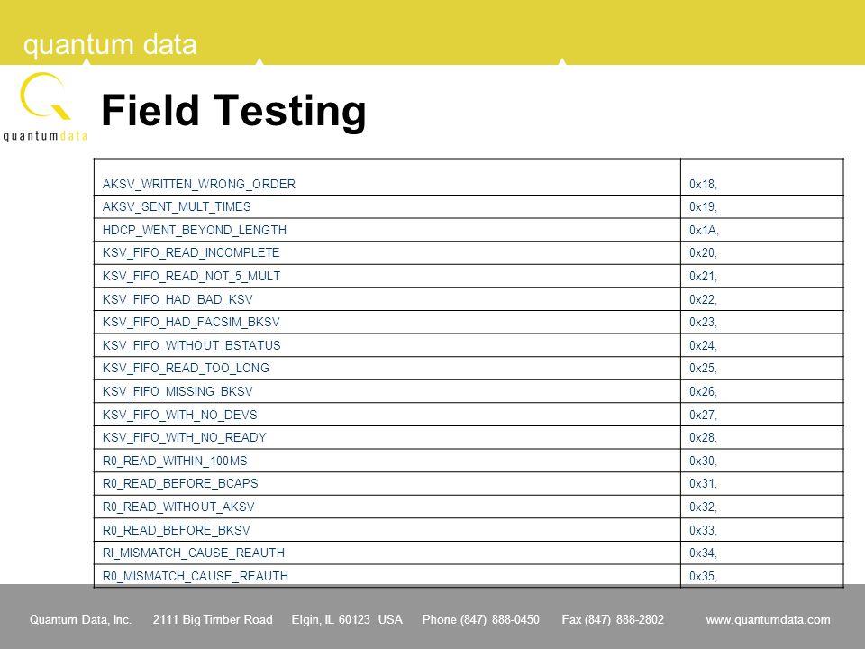 Field Testing AKSV_WRITTEN_WRONG_ORDER 0x18, AKSV_SENT_MULT_TIMES