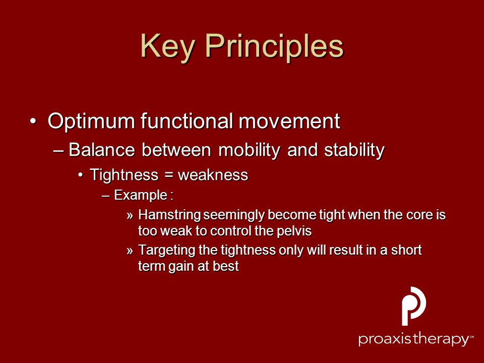 Key Principles Optimum functional movement