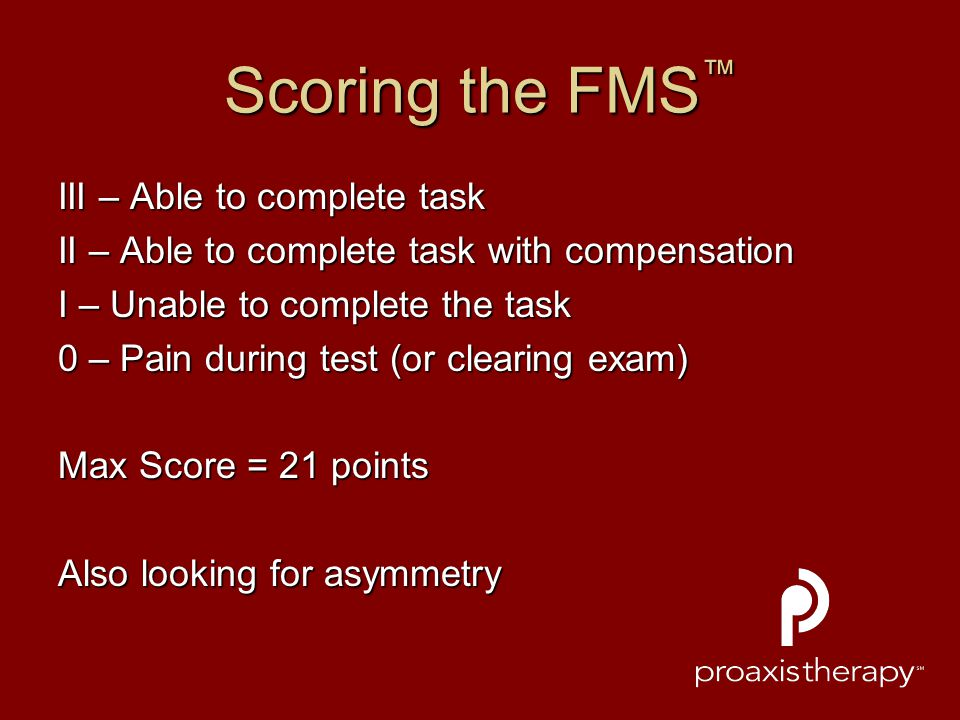 Scoring the FMS™ III – Able to complete task