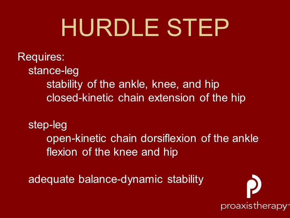 HURDLE STEP Requires: stance-leg stability of the ankle, knee, and hip