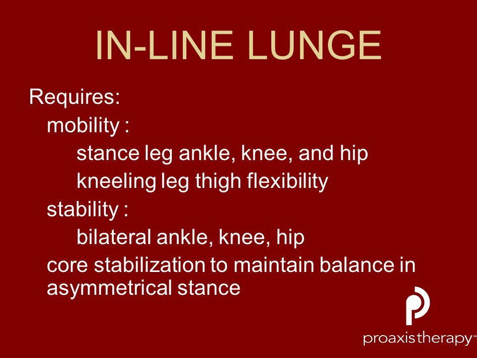 IN-LINE LUNGE Requires: mobility : stance leg ankle, knee, and hip
