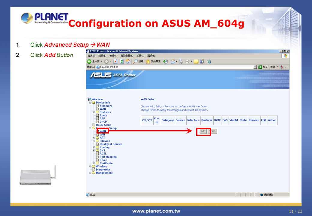 Configuration on ASUS AM_604g