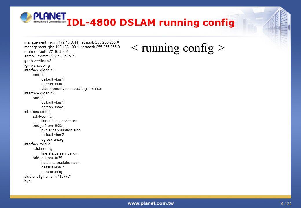 IDL-4800 DSLAM running config