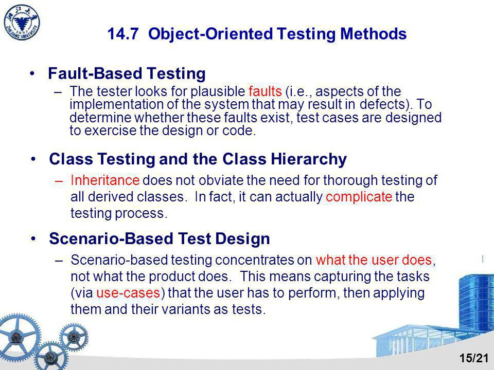 14.7 Object-Oriented Testing Methods