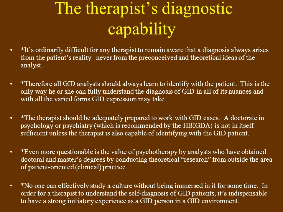 The therapist's diagnostic capability