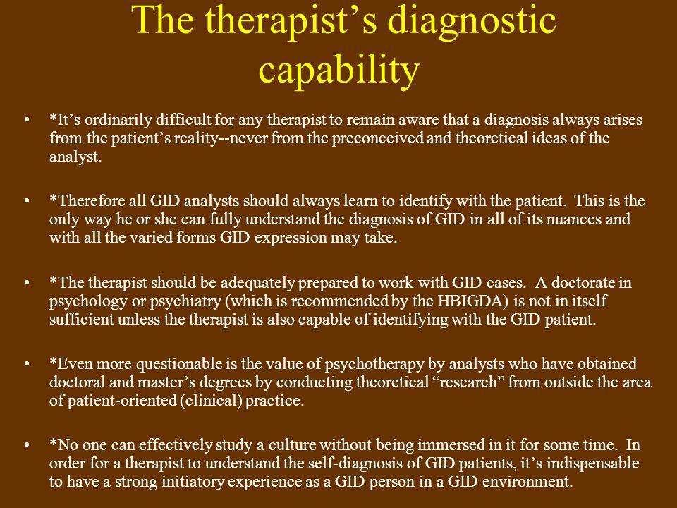 The therapist's diagnostic capability