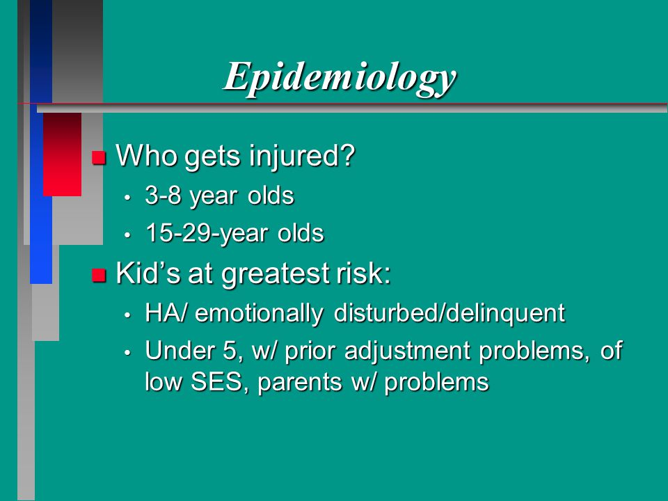 Epidemiology Who gets injured Kid's at greatest risk: 3-8 year olds