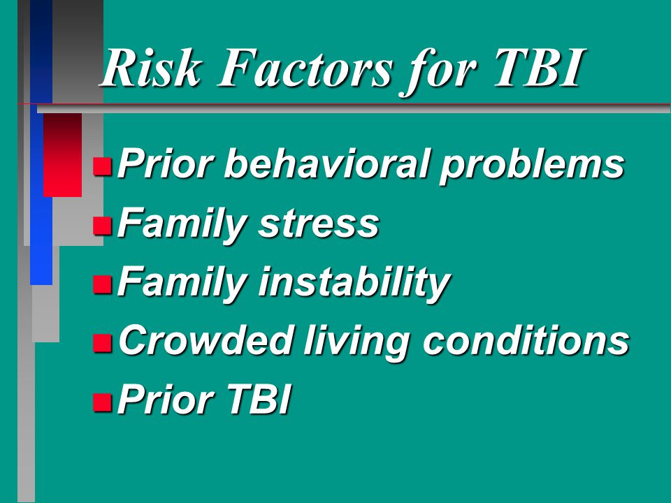 Risk Factors for TBI Prior behavioral problems Family stress