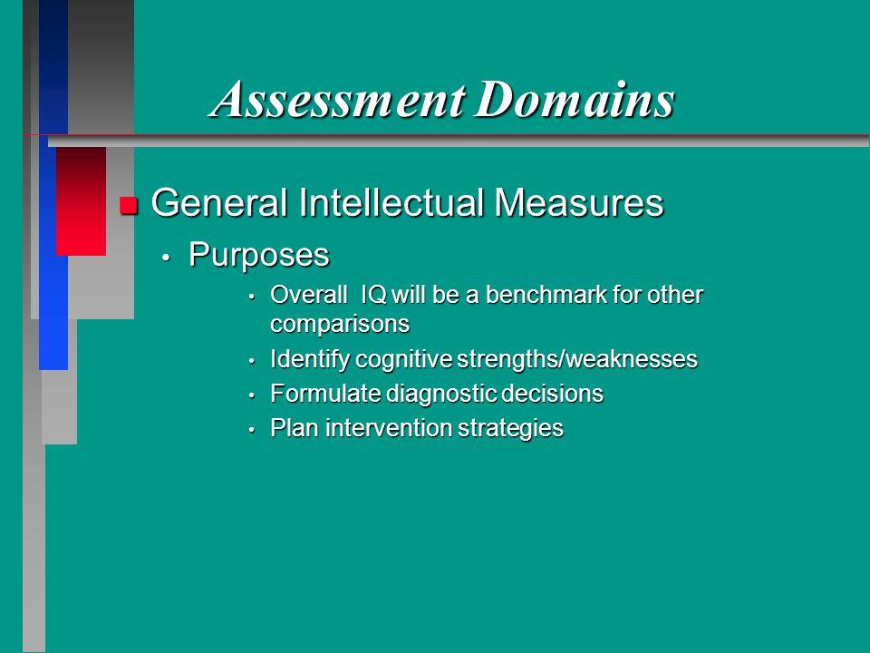 Assessment Domains General Intellectual Measures Purposes
