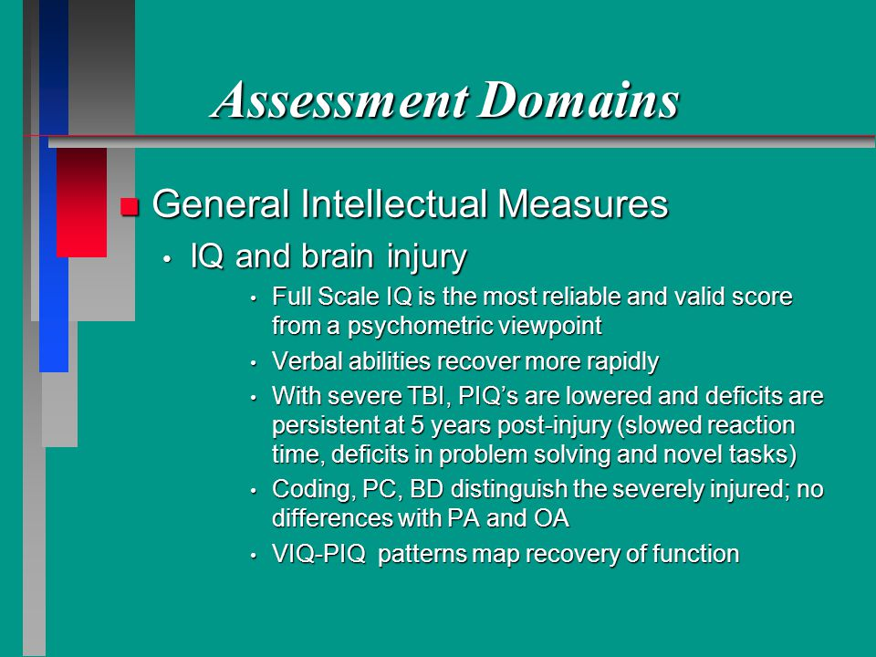 Assessment Domains General Intellectual Measures IQ and brain injury