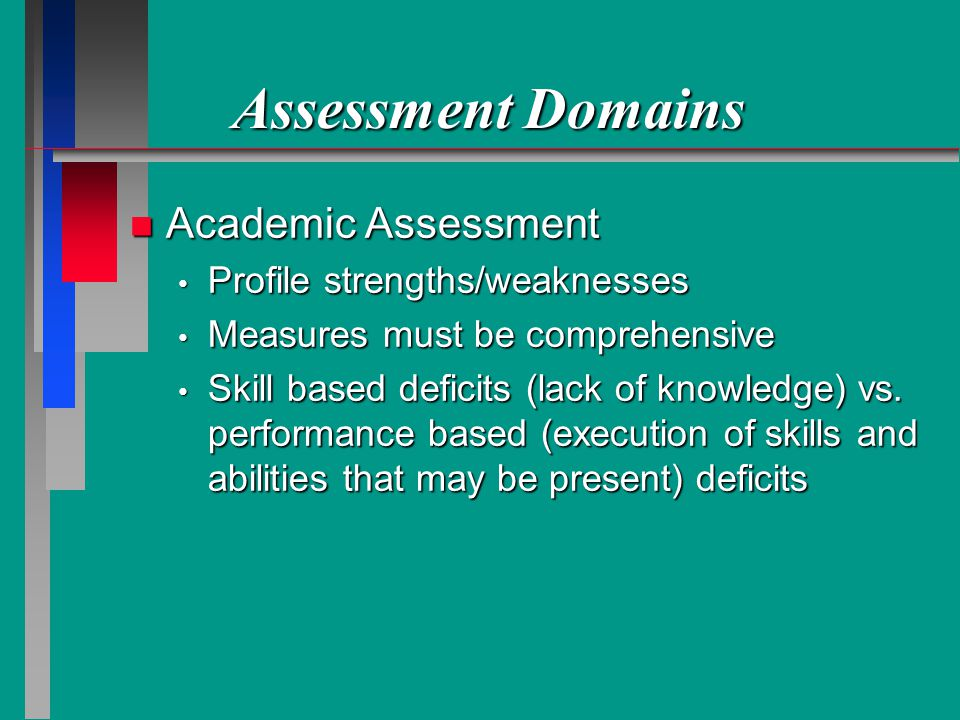 Assessment Domains Academic Assessment Profile strengths/weaknesses