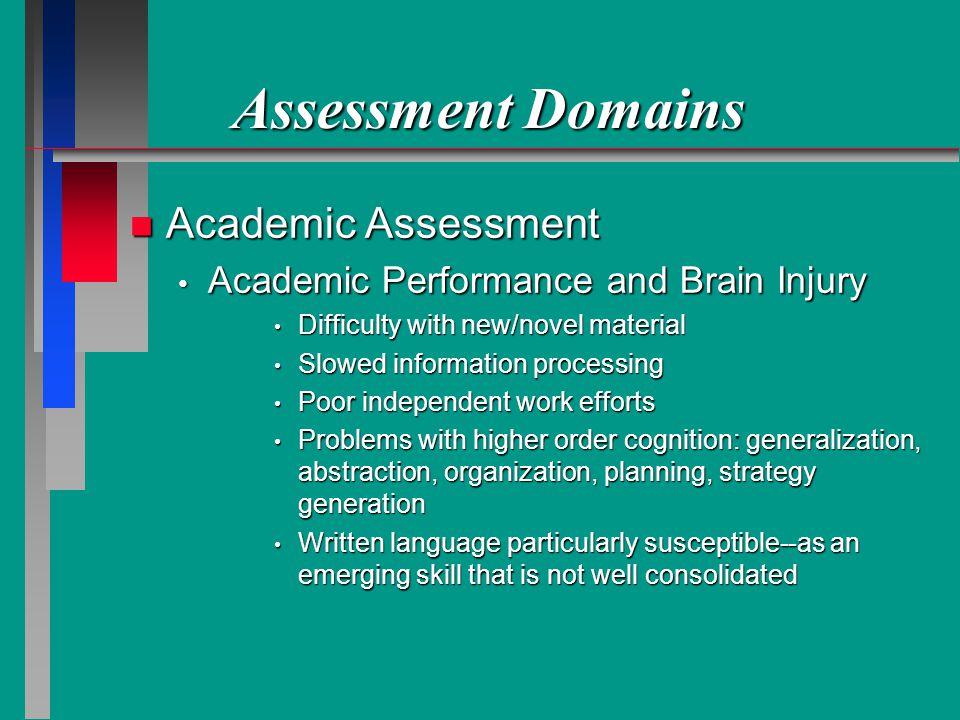 Assessment Domains Academic Assessment