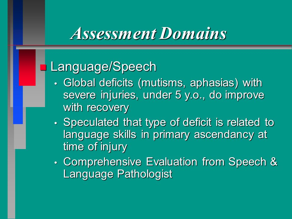 Assessment Domains Language/Speech
