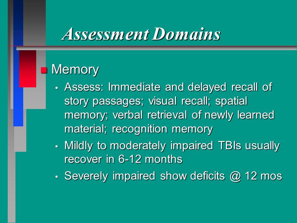 Assessment Domains Memory
