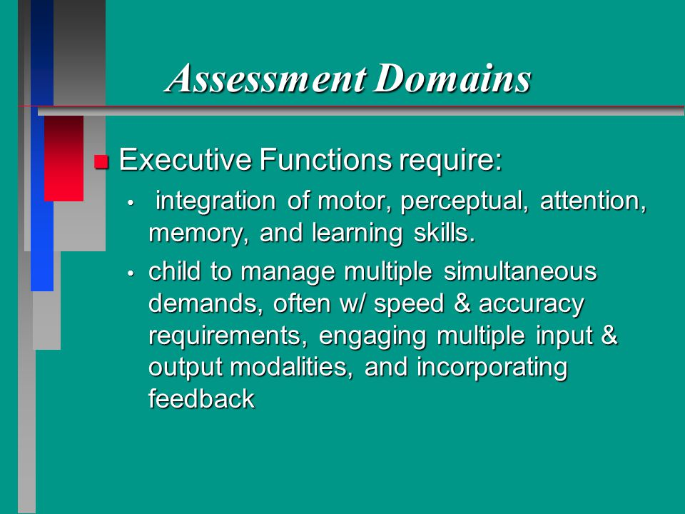Assessment Domains Executive Functions require: