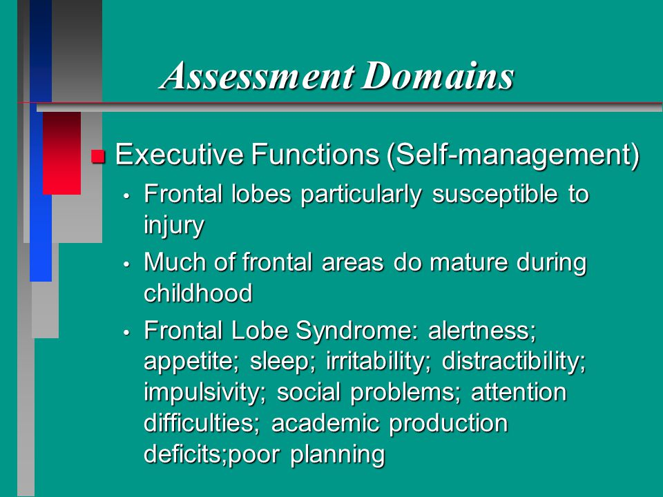 Assessment Domains Executive Functions (Self-management)