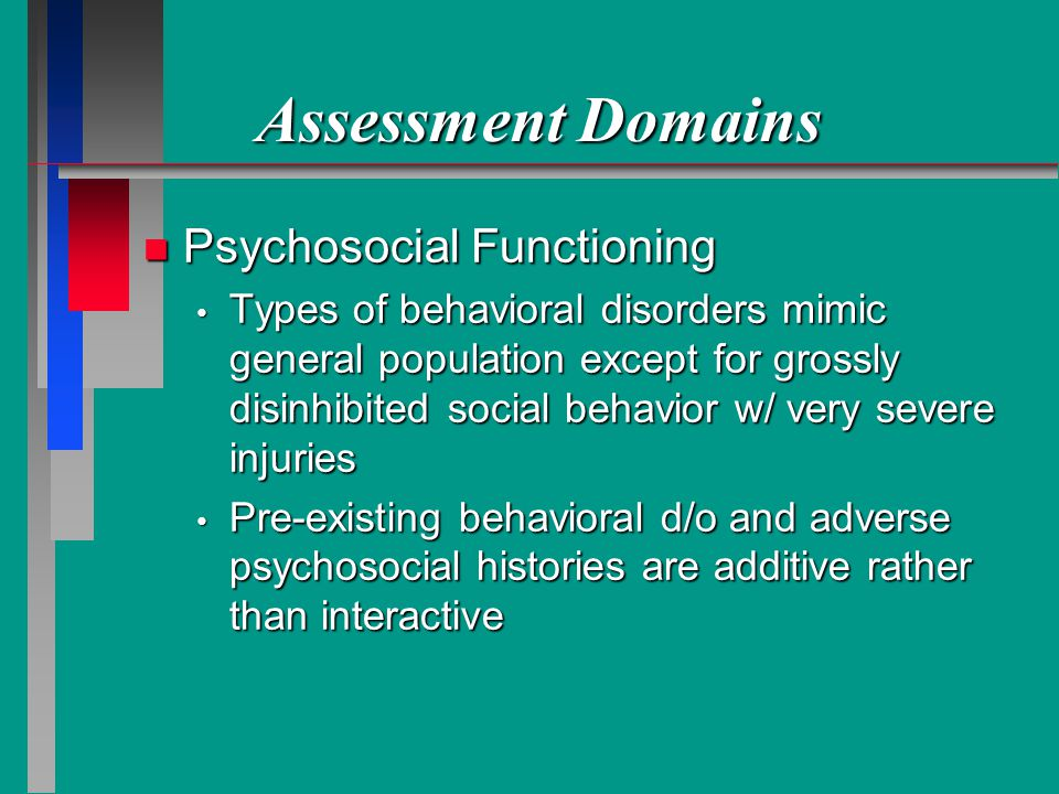 Assessment Domains Psychosocial Functioning