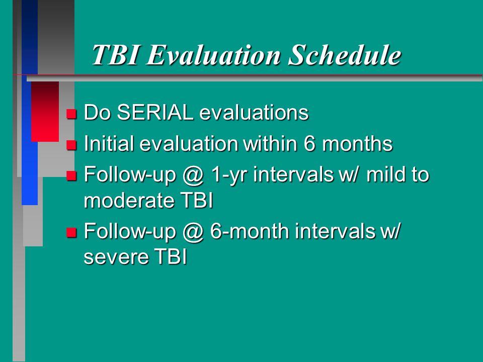 TBI Evaluation Schedule