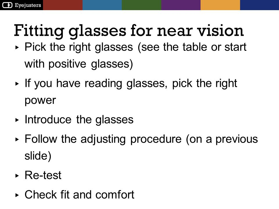 Fitting glasses for near vision