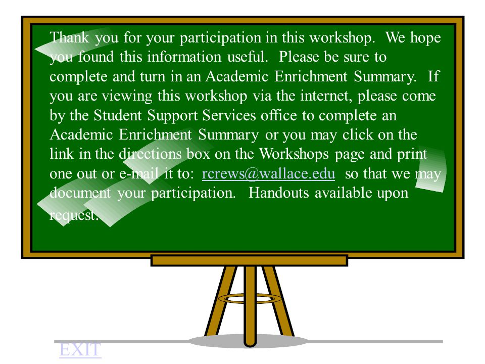 Thank you for your participation in this workshop