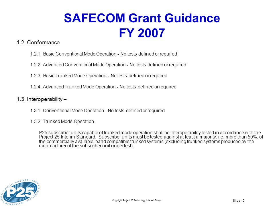 SAFECOM Grant Guidance FY 2007