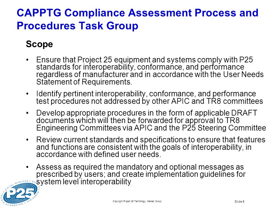 CAPPTG Compliance Assessment Process and Procedures Task Group