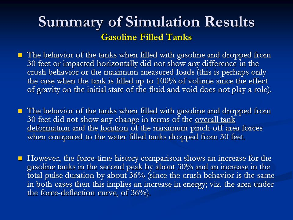 Summary of Simulation Results Gasoline Filled Tanks