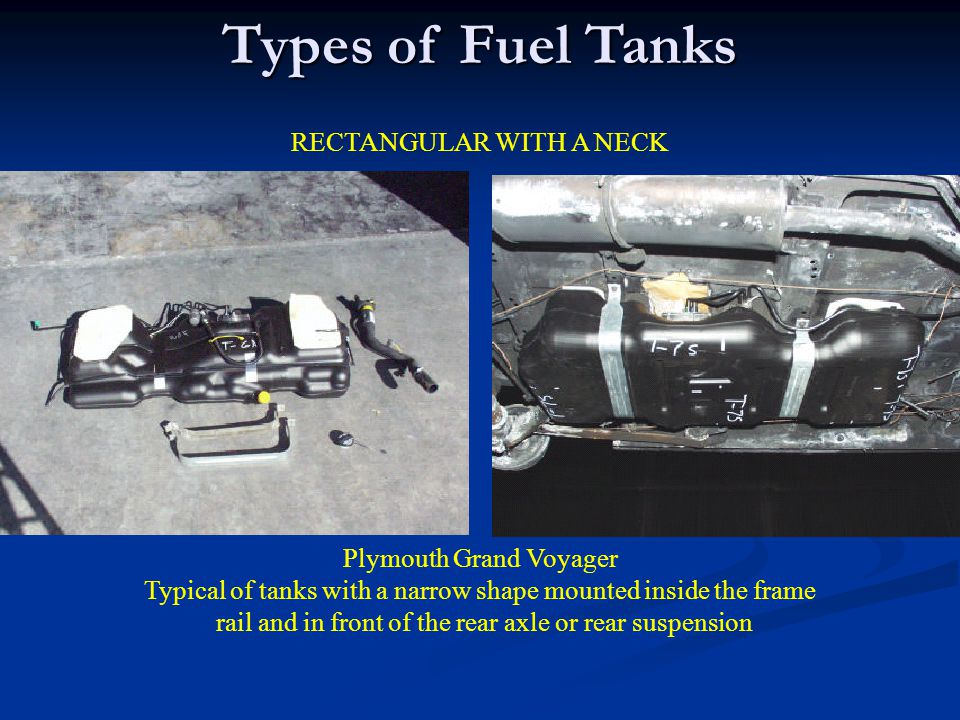 Types of Fuel Tanks RECTANGULAR WITH A NECK Plymouth Grand Voyager