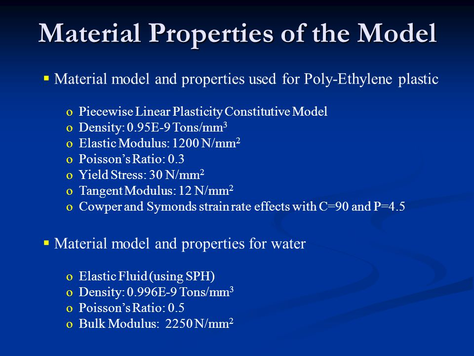 Material Properties of the Model