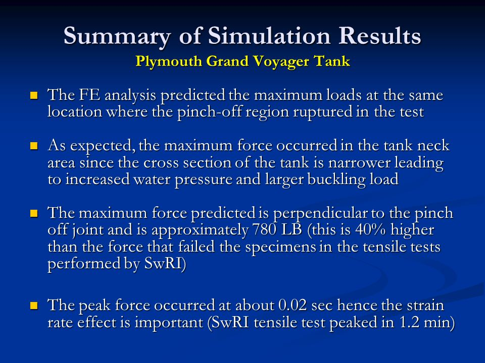 Summary of Simulation Results Plymouth Grand Voyager Tank