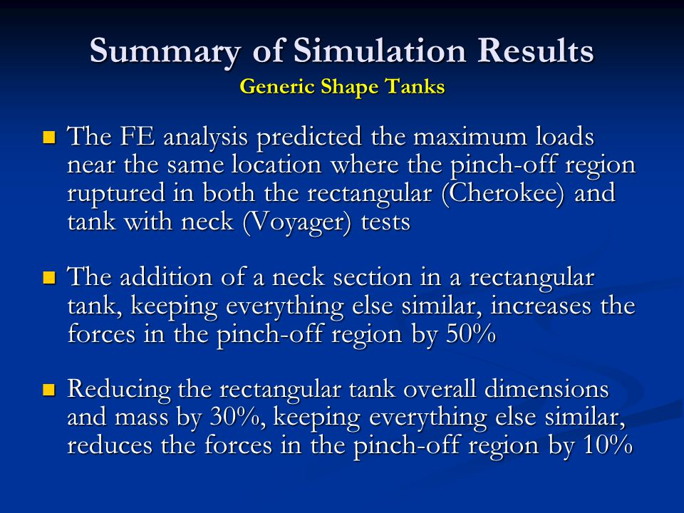 Summary of Simulation Results Generic Shape Tanks